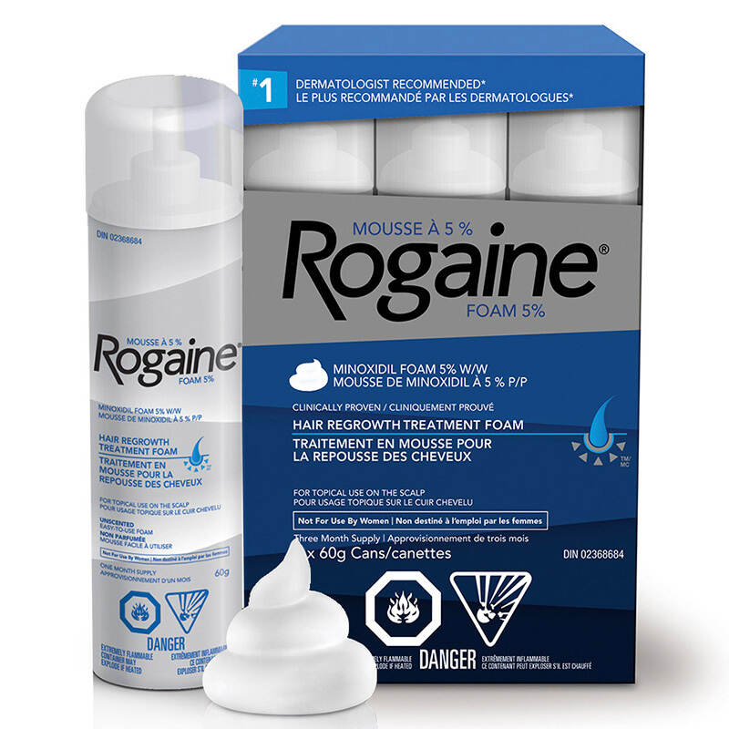 mens ROGAINE® hair growth treatment pack shot
