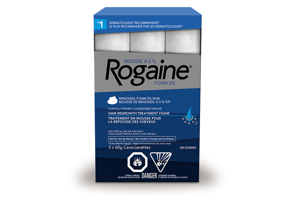 mens ROGAINE® 5% foam hair regrowth treatment box