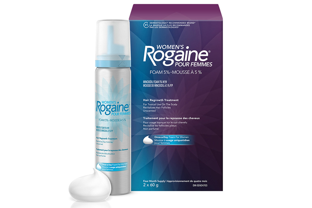 womens ROGAINE® hair growth treatment box and spray can