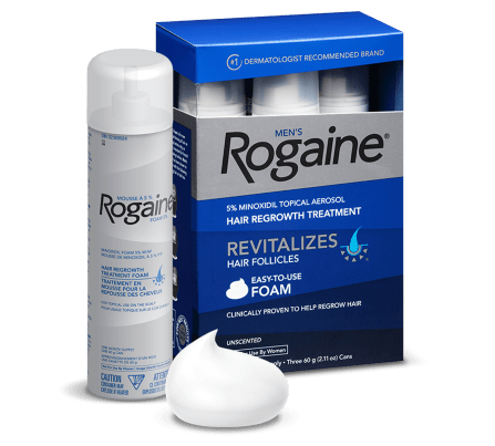 mens ROGAINE® hair regrowth treatment foam box and spray can